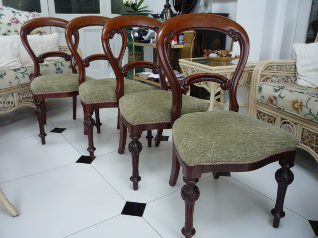 A set of four Mahogany Victorian Dinning Chairs.
